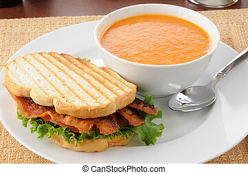 Grilled BLT with tomato bisque - A grilled bacon, lettuce...