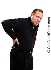 Elderly Back Pain - Elderly man holds his back and bends...