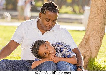 africano, norteamericano, padre, preocupado, sobre, el suyo,...