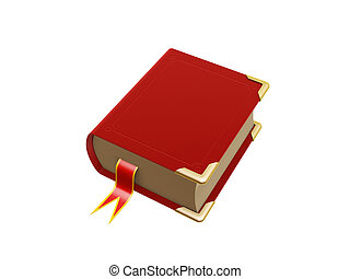 red book - retro red book isolated on white background
