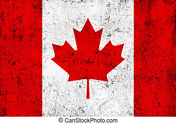 Grunge Dirty and Weathered Canadian Flag, Old Metal Textured