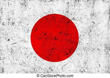 Grunge Dirty and Weathered Japanese Flag, Old Metal Textured