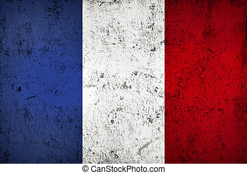 Grunge Dirty and Weathered French Flag, Old Metall Textured
