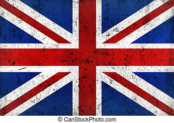 Grunge Dirty and Weathered British Flag, Old Metal Textured