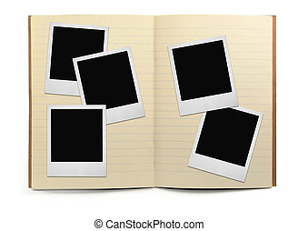 lined exercise book and photo frames, visible natural shadow...