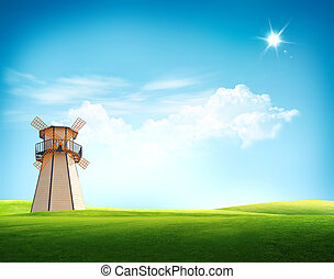 moinho de vento, turbina, antigas, paisagem, vento