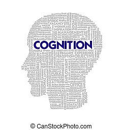 cabeça, conceito, palavra, negócio, cognição, dentro, FORMA,...