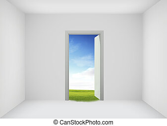 Open door to the new world, for environmental and business idea concept