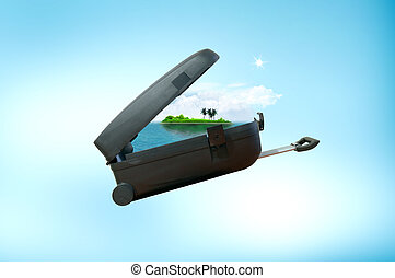Travel black suitcase. Packed for vacation and travel concept