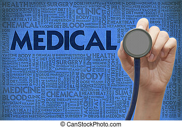 Stethoscope in doctor hand on the word cloud, medical concept
