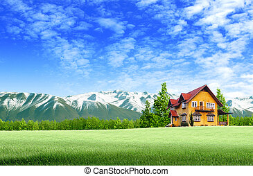 House and moutain on green field landscape with blue sky