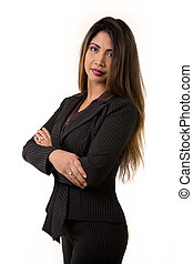 Business woman - Attractive long hair brunette woman from...
