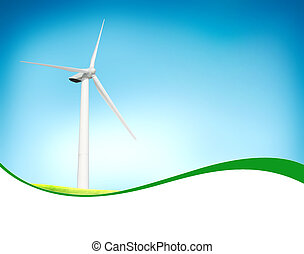 Beautiful green meadow with Wind turbines blue sky