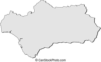 Map of Andalusia (Spain) - Map of Andalusia, a region of...