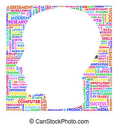 Blank head with brain speach and Word cloud outside for...
