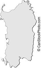 Map of Sardinia (Italy) - Map of Sardinia, a region of...