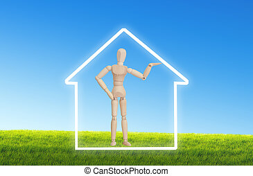 Wooden inside the house for Conceptual home symbol - real estate, property insurance, housing