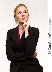 Business woman thinking - Attractive blond hair woman...