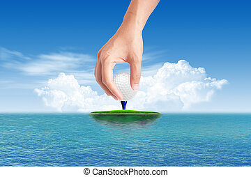 Golf ball on Tropical green island