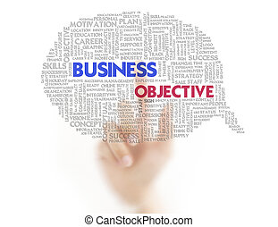Businessman finger pressing business word bubble