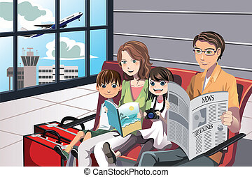 Family vacation - A vector illustration of a family going on...