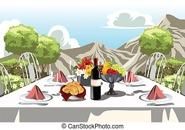 Garden party table arrangement - A vector illustration of a...