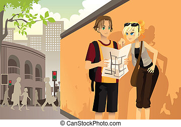 Couple tourist - A vector illustration of a couple young...