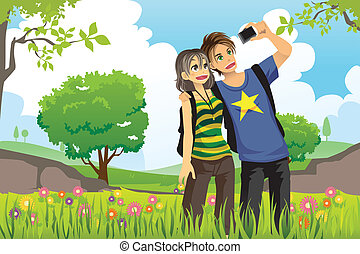 Tourist couple - A vector illustration of a young tourist...