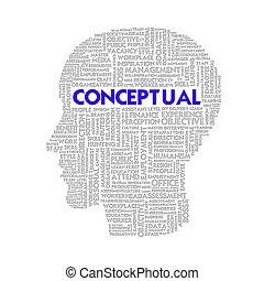 Word cloud business concept inside head shape, conceptual