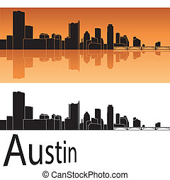 Austin skyline in orange background in editable vector file