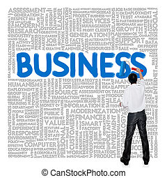 Business man paint business wording concept on tag cloud...