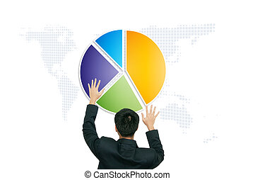 Business man touch 3d pie chart