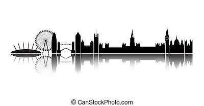 Skyline London city. - Isolated silhouette of the city of...