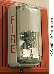 Fire Alarm Light - Fire alarm light and siren hanging on...