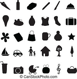 object silhouettes contains stationaries, nature, household...