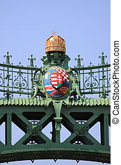 Freedom Bridge in Budapest - Emblem in the Freedom Bridge in...