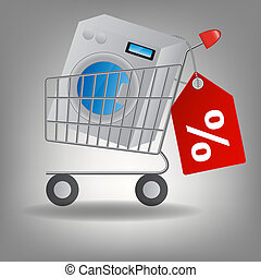 Vector illustration of  supermarket shopping cart with washing machine