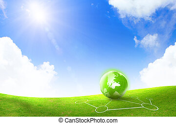 global and green grass with blue sky