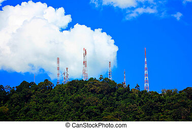 Power transmission towers on the hill