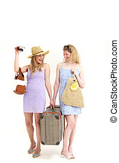 Two friends off on their travels - Two attractive female...