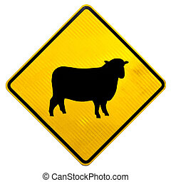 Attention Sheep Crossing Road Sign - New Zealand Road Sign,...