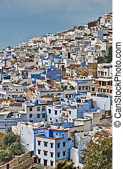 Chefchaouen blue town general view at Morocco - Chefchaouen...