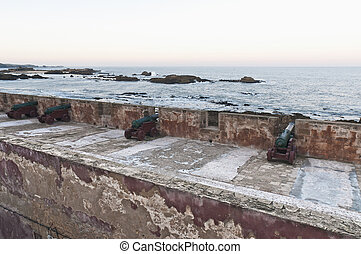 Defensive wall cannons at Essaouira, Morocco