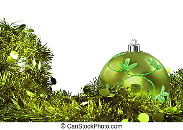 Green christmas decorations on white