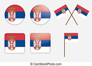 badges with flag of Serbia - set of badges with flag of...