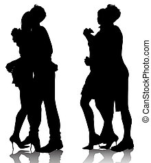 hugging couple silhouettes
