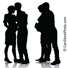 couple silhouette expecting a baby - vector illustration...