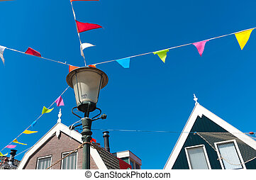 bunting flags - colorful bunting flags attached to a...