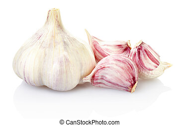 Fresh garlic on white - Garlic isolated on white, clipping...