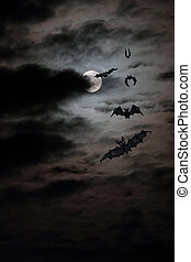 bat full moon - bat flock drawing against the real full moon
